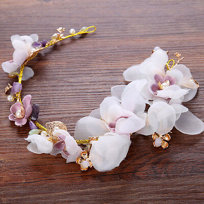 Wedding Dress Accessory Pearl Alloy Headband Bridal Handmade Flower Hair Piece