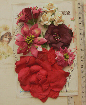 BURGUNDY LAVA & CREAM 10 Flowers Roses & Lillies 6 Styles PAPER 25-100mm MH VE3