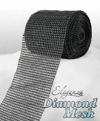 Black Diamante Rhinestone Effect Bling Mesh Cake Trim Ribbon Wedding