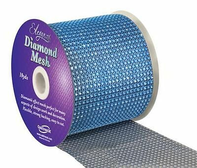 Blue Diamante Rhinestone Effect Bling Mesh Cake Trim Ribbon Wedding