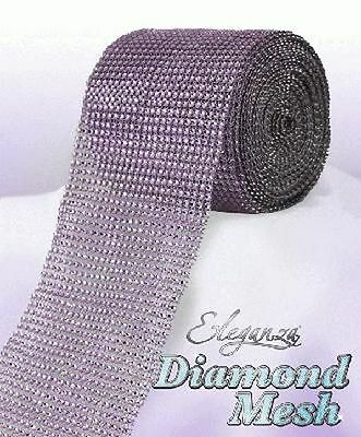 Lilac Diamante Rhinestone Effect Bling Mesh Cake Trim Ribbon Wedding