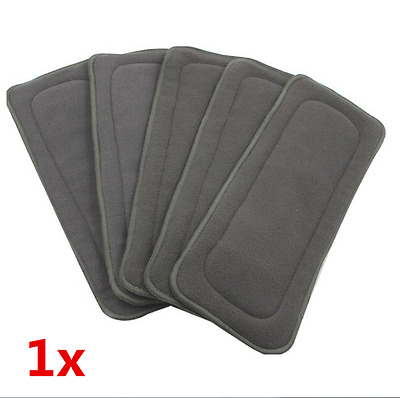 Bamboo Fiber Charcoal Washable Cloth Diaper Nappies Inserts 4 Layers