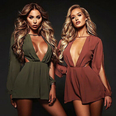 US Women Clubwear Summer Playsuit Bodycon Party Jumpsuit Romper Trousers