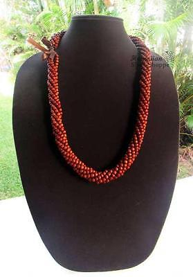 NEW Koa Wood Bead Honey Brown Lei Necklace ~ Hawaii Luau Wedding Graduation Hula
