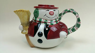 Fitz And Floyd Christmas Snack Therapy Snowman Teapot Mug  Decorations