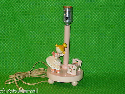 "Vintage Wood PINK BABY GIRL NURSERY LAMP Mommy & Baby 10"" T Shabby Cottage Chic"