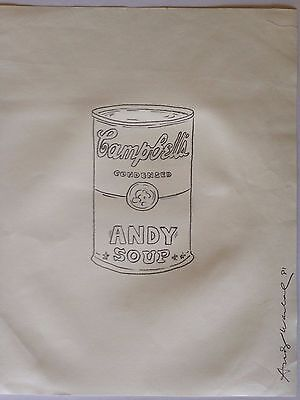 ANDY WARHOL - dessin signé Campbell Soup Can