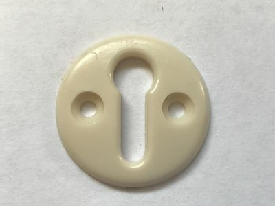 Vintage Retro White Bakelite Door Lock Escutcheon Plate Art Deco 3cm Diameter