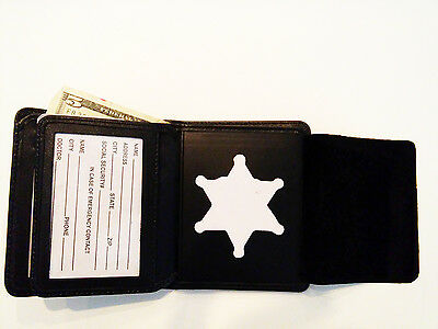 Sheriff Badge Wallet 6 point star Cut Outs RFID BiFold Money, 5 C/C Slots, BIW10