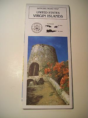 VINTAGE 1990 UNITED STATES VIRGIN ISLANDS OFFICIAL ROAD MAP St Thomas St Croix