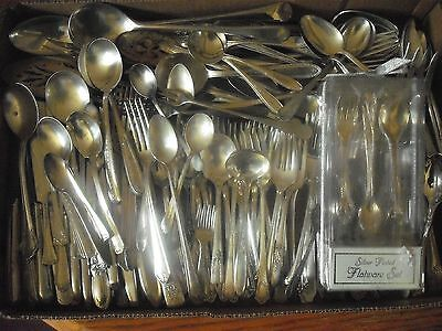 150 Pc Mixed Lot Silverplate/Antique Flatware/Serving   #127