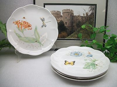 "4   Lenox Fine China   BUTTERFLY MEADOW  9 1/8""  Scalloped Luncheon Salad Plates"