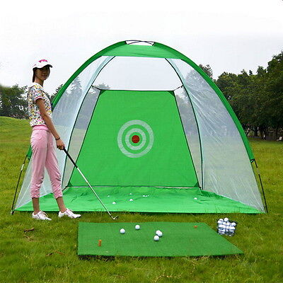 Foldable Golf Hitting Cage Practice Net + Training Aid Mat + Driver Iron New %