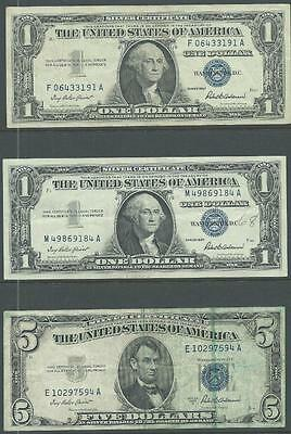 Silver Certificates - $1.00 1957 (2) & $5.00 1953A - Three Nice Circulated Notes