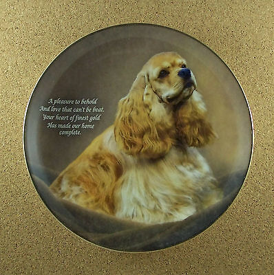 Cherished Cocker Spaniels HEART OF GOLD Plate Spaniel Danbury Mint Dog Puppy