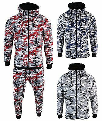 Mens Slim Fit Camo Camouflage Full Tracksuit Set Joggers Bottoms Top Zip Hooded