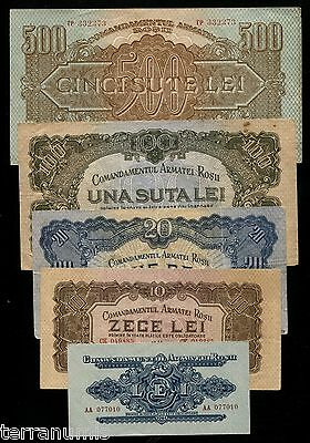 x535 ROMANIA SET 500 100 20 10 5 LEI 1944 RUSSIA RED ARMY OCCUPATION NOTES