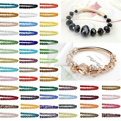 New 72pcs Crystal Rondelle Loose Spacer Beads Necklace Jewellery 10mm 12mm OB
