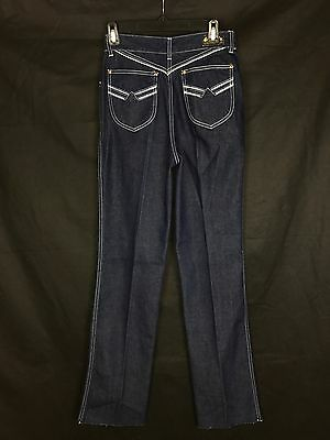 "VTG de Choix Jeans 70s Cigarette Leg High Waist Dark Blue Denim Disco 28"" Waist"