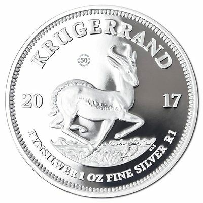 SOUTH AFRICAN SILVER KRUGERRAND 2017 1 oz Pure Silver Proof Coin - COA and BOX