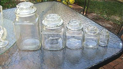 (5) SIZES  ANCHOR HOCKING VINTAGE Glass Apothecary Square Counter Jars NICE # 1