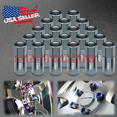 Gunmetal 20 PCS M12X1.5mm Lug Nuts Extended Tuner Aluminum Wheels Rims Cap WN02