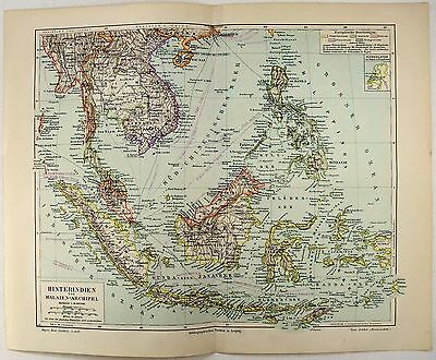 Original 1895 Map of Southeast Asia - East Indies by Meyers. Hinterindien Malay