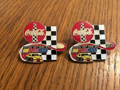 Coca-Cola Official Soft Drink NASCAR Coke Lapel Hat Pins Checkered Flag Racing