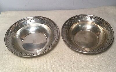 Tiffany & Co. Antique Sterling Silver Pair Pierced Bowls 376g