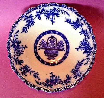 Large Flow Blue Bowl Beautifully Embossed - By Brugge England For James Kent