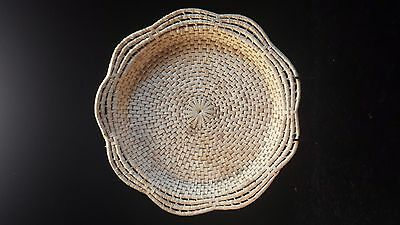 Vintage Large Handcrafted Woven Flat Basket Wall Hanging