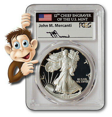 1986-S $1 Silver Eagle - PCGS PR69DCAM - Hand signed by John Mercanti