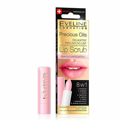 Eveline Precious Oils Lip Scrub Gentle Exfoliating Lipstick With Peeling Balm