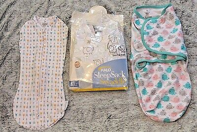 Halo Sleep Sack Swaddle Me Lot of 3 Sleepers Size Newborn 0-3 months and small