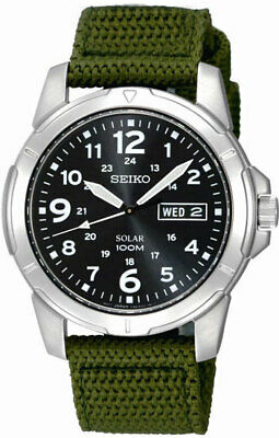 Seiko Men's SNE095P2  Black Dial Green Canvas Strap Solar Stainless Steel Watch