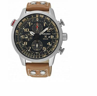 Seiko Prospex Chronograph SSC421 Black Dial Brown Leather Band Men's Watch