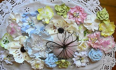 PRETTY PASTELS Flowers VALUE PACK - approx 3.5 to 9cm across 23 Flowers MH