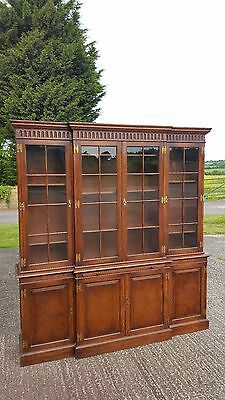 Quality Solid Oak 4 Door Breakfront Bookcase