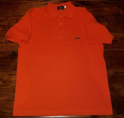 FENDI POLO T SHIRT Orange Men's Small Made In Italy Vintage