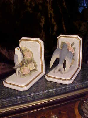 BEAUTIFUL Birds Crackle Finish Bookends Gold Trim & BLUE BIRD & ROSES!