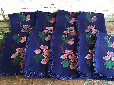 Vintage Hand Painted Navy Blue Napkins Pink Cherry Blossom Flowers Set of 9