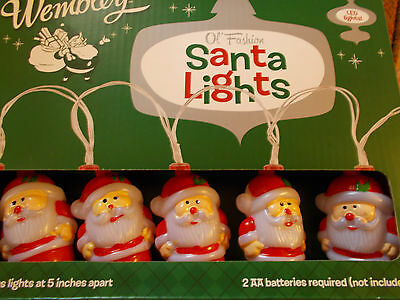 New Led Battery Operated Vintage Style Santa String Lights Free Ship