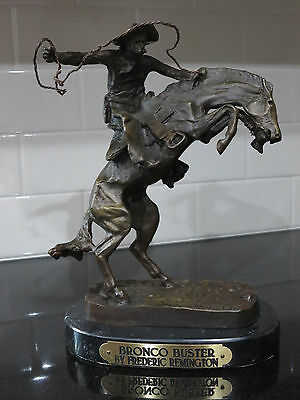 "Bronco Buster By Frederic Remington 10"" Bronze Sculpture Statue on Marble Base"