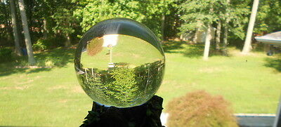 Vintage Clear Quartz Crystal Ball With Resin Stand