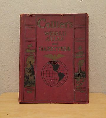 Vintage 1930's Collier's World Atlas and Gazetteer Book