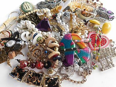 Vintage Jewelry Craft Repair Brooch Necklace Rhinestone Figural Many Signed Lot
