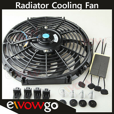 "Universal 12"" Radiator Electric Cooling Fan Curved S-Blade Reversible Muscle Car"