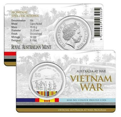 "2016 Australia at War ""Vietnam War"" Uncirculated Coloured 50c cent coin on card"