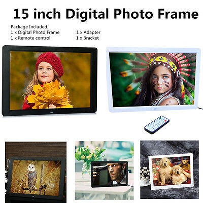 "15"" LED HD Digital Photo Frame Video Clock Photograph + Remote Controller CX"