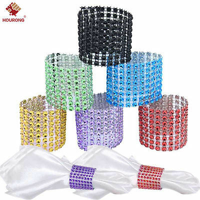 10/50pcs Bling Diamond Rhinestone Mesh Wrap Napkin Ring Chair Band Wedding Decor